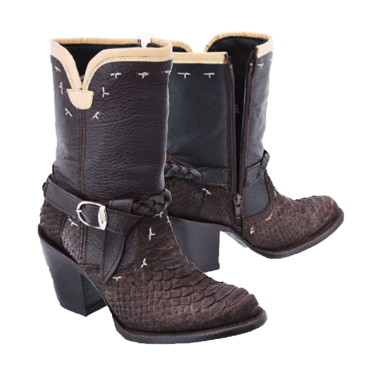 Leather And Python Ankle Boot WD576