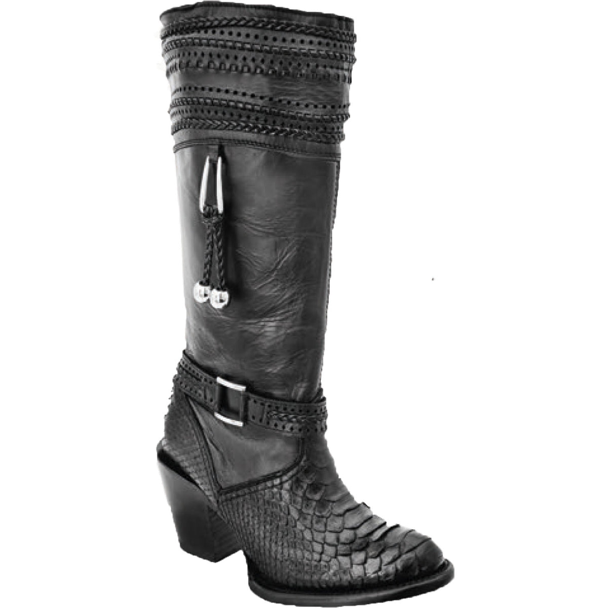 Leather And Python Skin Boot WD579