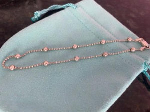 Silver Beaded Anklet Handmade in Italy