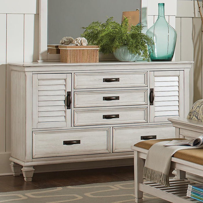 Franco Antique White Five-Drawer Chest With Louvered Panel Doors image