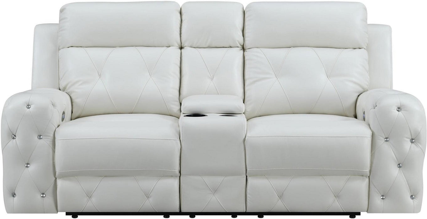 Global Furniture U8311 Power Console Reclining Loveseat in White image