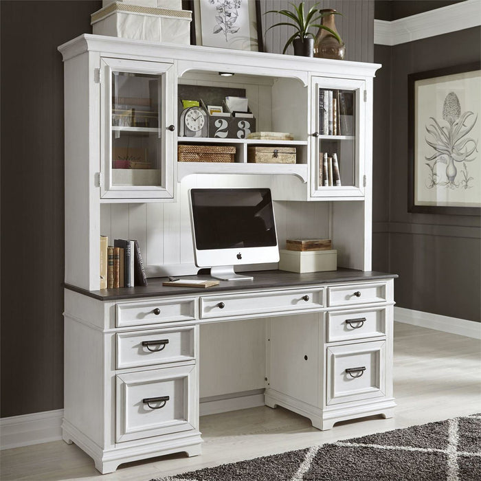 Liberty Allyson Park Jr. Executive Credenza with Hutch in Wirebrushed White image