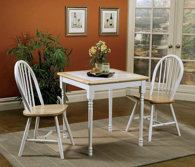 Country Natural Brown Dining Table with White Tile Top image