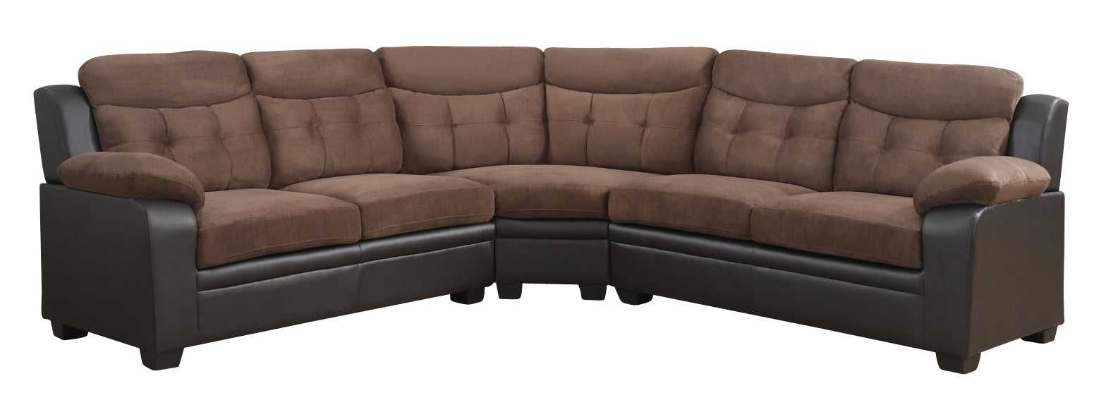Global Furniture U880015KD 3-Piece Sectional in Rider Chocolate/ Brown image