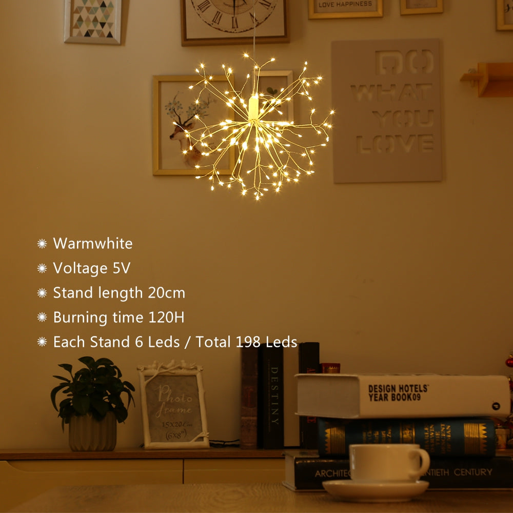 LH - BOM - YHD198WW 198 LEDs Hanging Starburst Light with Remote Control