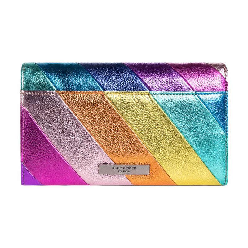 KURT GEIGER LONDON K STRIPE LEATHER CHAIN WALLET