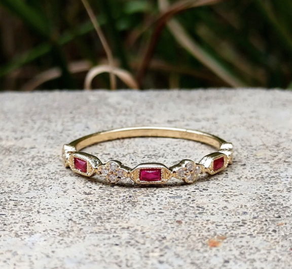 Yellow Gold Ruby and Diamond Band