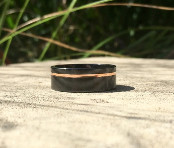 Offset Rose Gold Stripe Band
