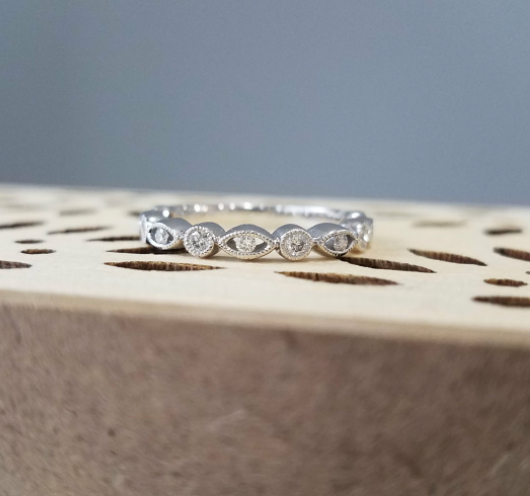Diamond Marquise - And Round - Shaped Stacking Band