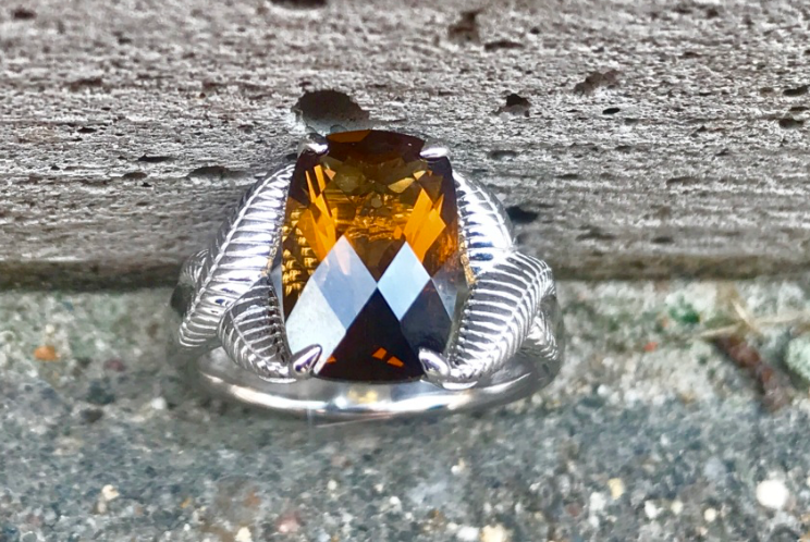 Honey Citrine Leaf Ring