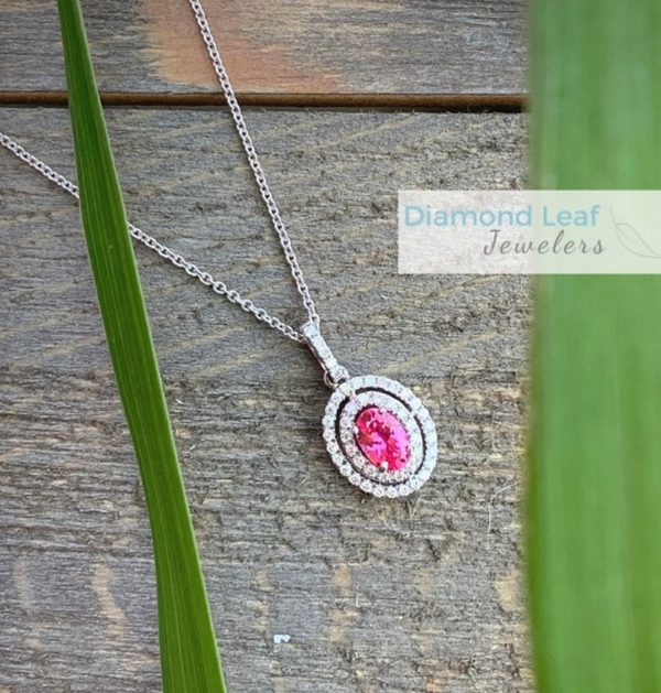 Pink Spinel and Diamond Pendant