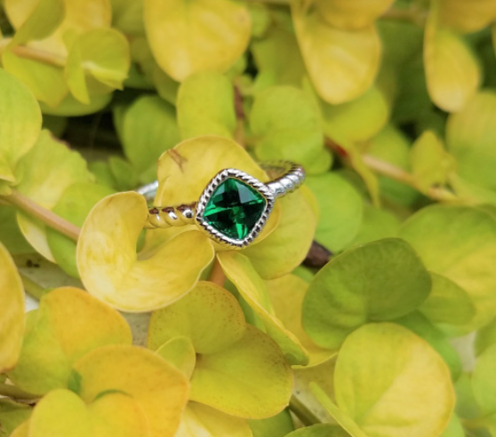 Created Emerald Cushion Ring