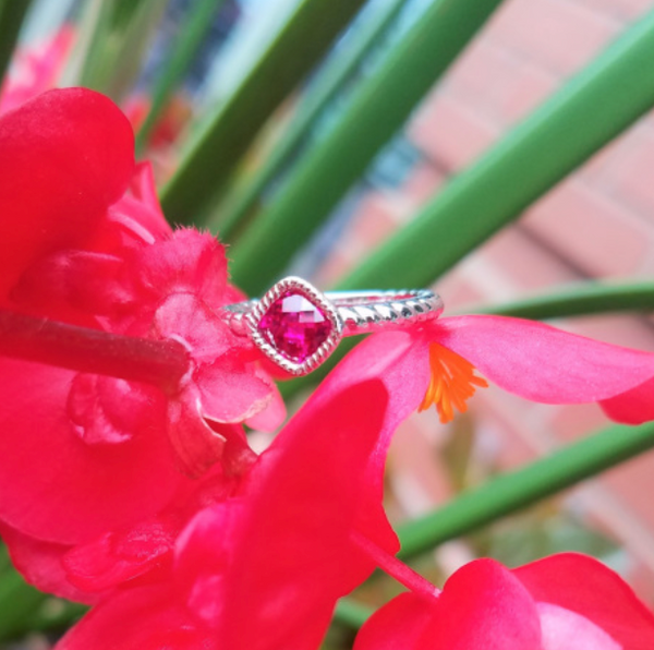 Square Cushion Ruby Ring