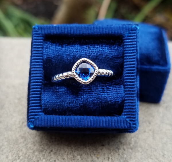 Created Blue Sapphire Cushion Ring