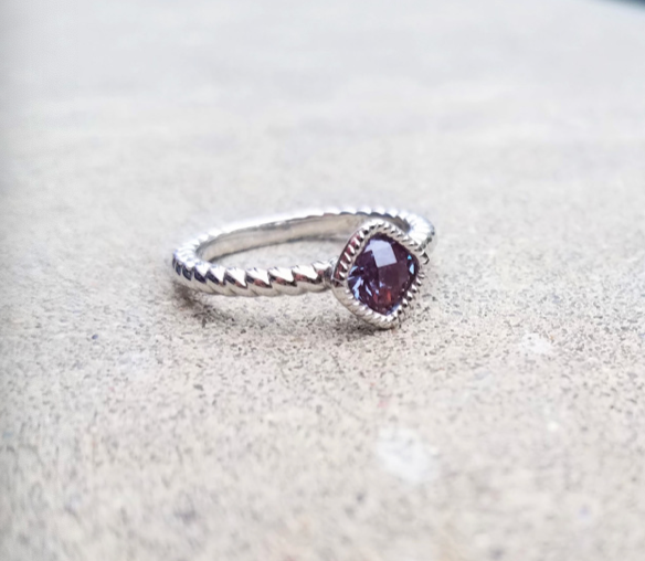 Created Alexandrite Cushion Ring