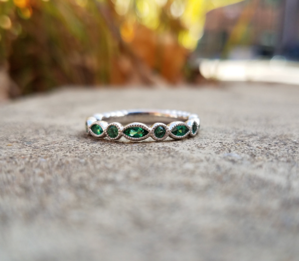 Created Emerald Stacking Band