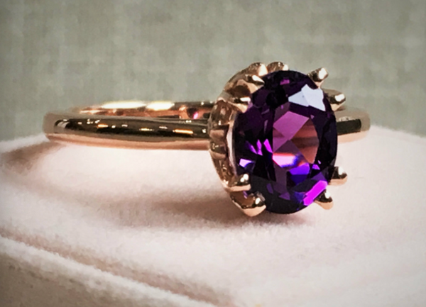 Oval Amethyst Solitaire Ring