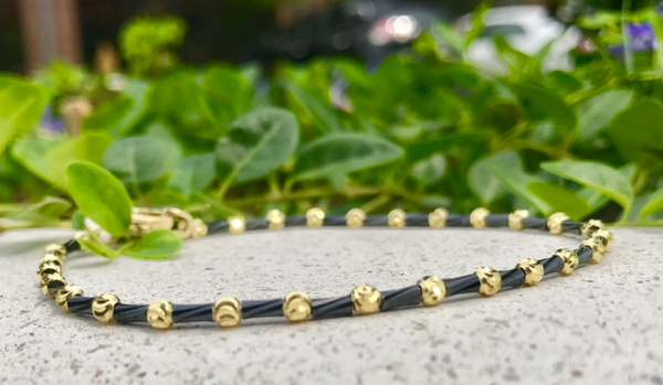 Black and Yellow Sterling Bracelet