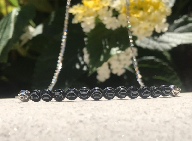Black and Silver Sterling Necklace
