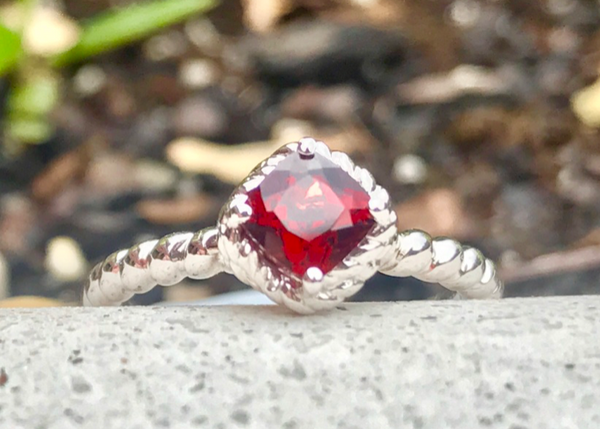 Sterling Silver Stacking Band with Garnet