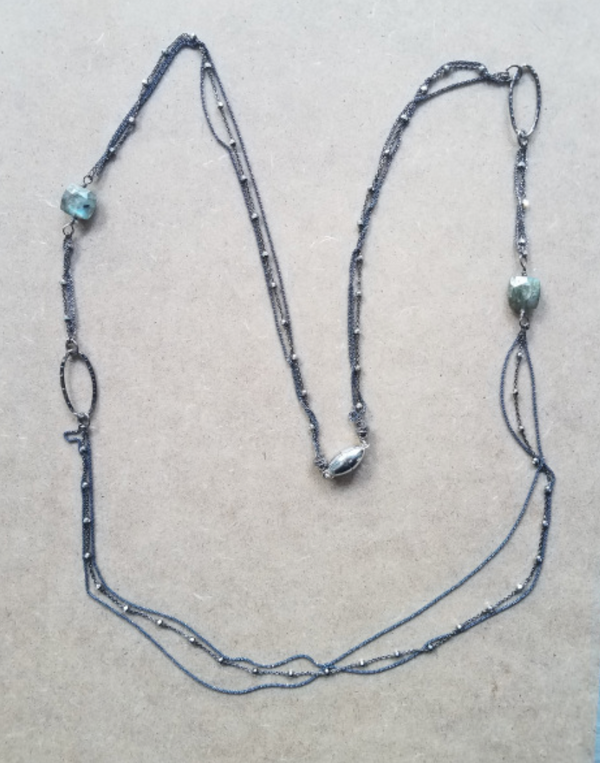 Black Necklace with Labradorite