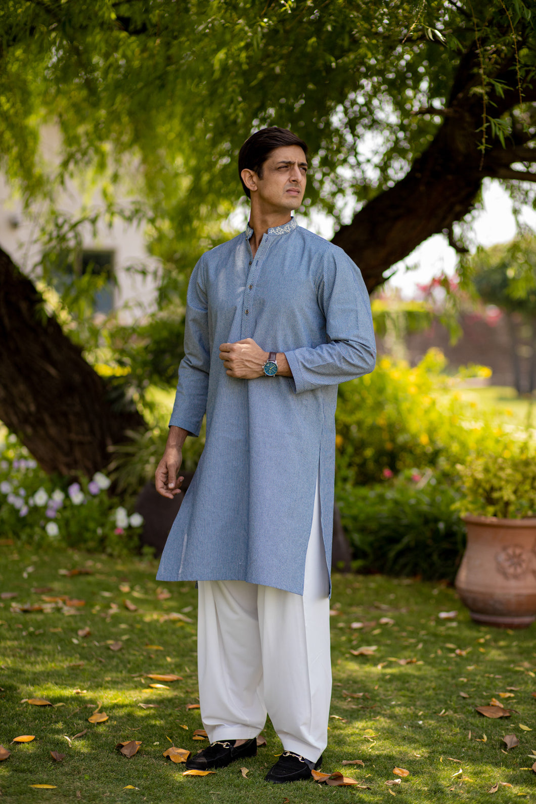 Blue Lines Embroidered Kurta