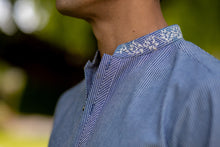 Load image into Gallery viewer, Blue Lines Embroidered Kurta