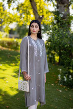 Load image into Gallery viewer, Grey Panni Work Kurta