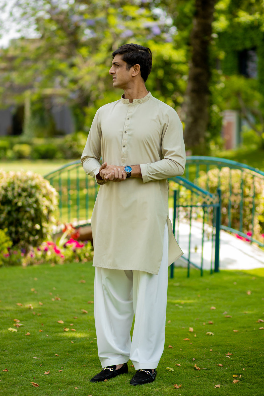 Green Geometric Kurta