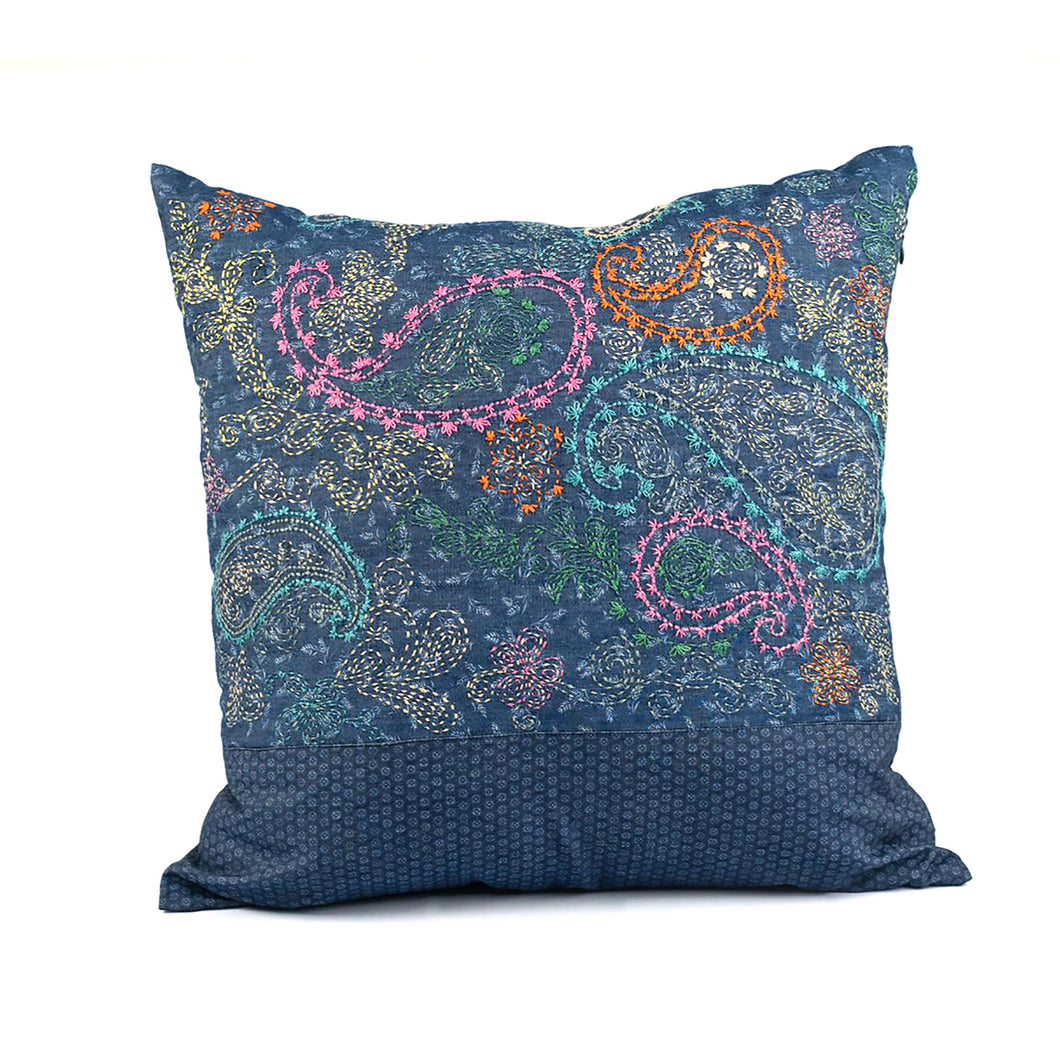 Funky Denim Full Embroidered Cushion Cover