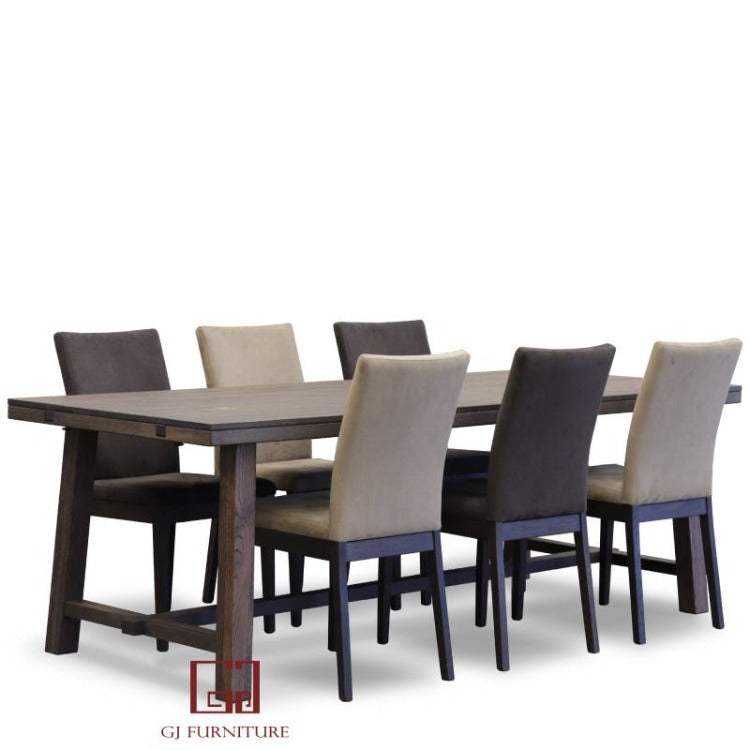 Brooklyn Oak Dining Set 7 Pieces 2200mm