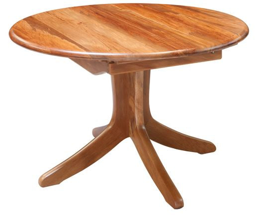 NZ Native RIMU  Round Single Pedestal Extension Table Verso