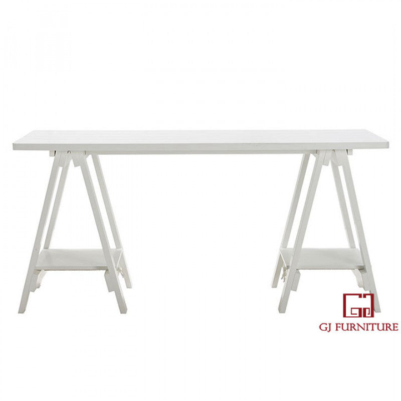 Solid Trestle Desk [White-Wooden]