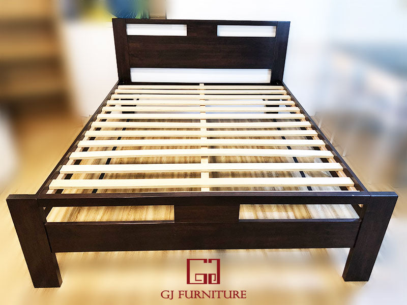 Queen Bed Frame Solid Rubber wood - Dark
