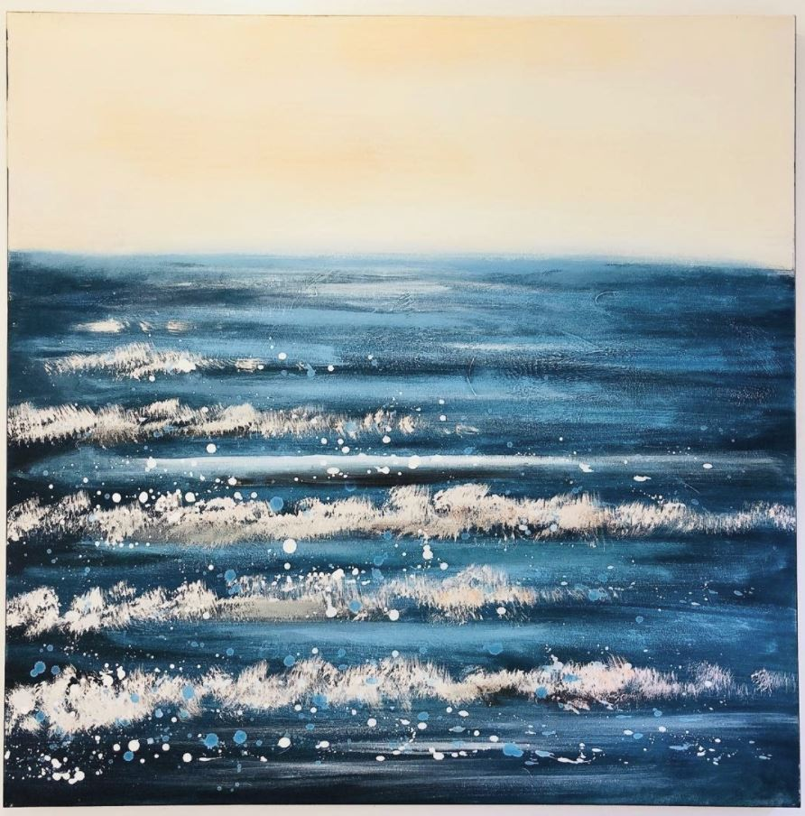 Lovely oil painting Waves blue tone 800mm x 800mm