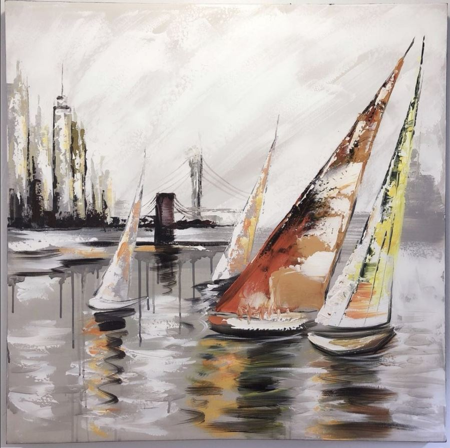 Lovely oil painting Sailing Boat on the sea 800mm x 800mm