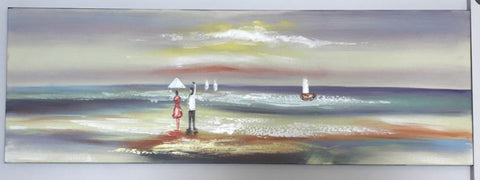 Oil Painting of Beach with Sailing Boats and People 1500mm x 500mm