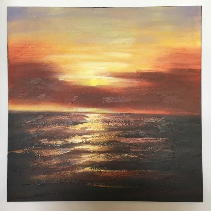 Withdraw Lovely Oil Sunset Painting 800mm x 800mm