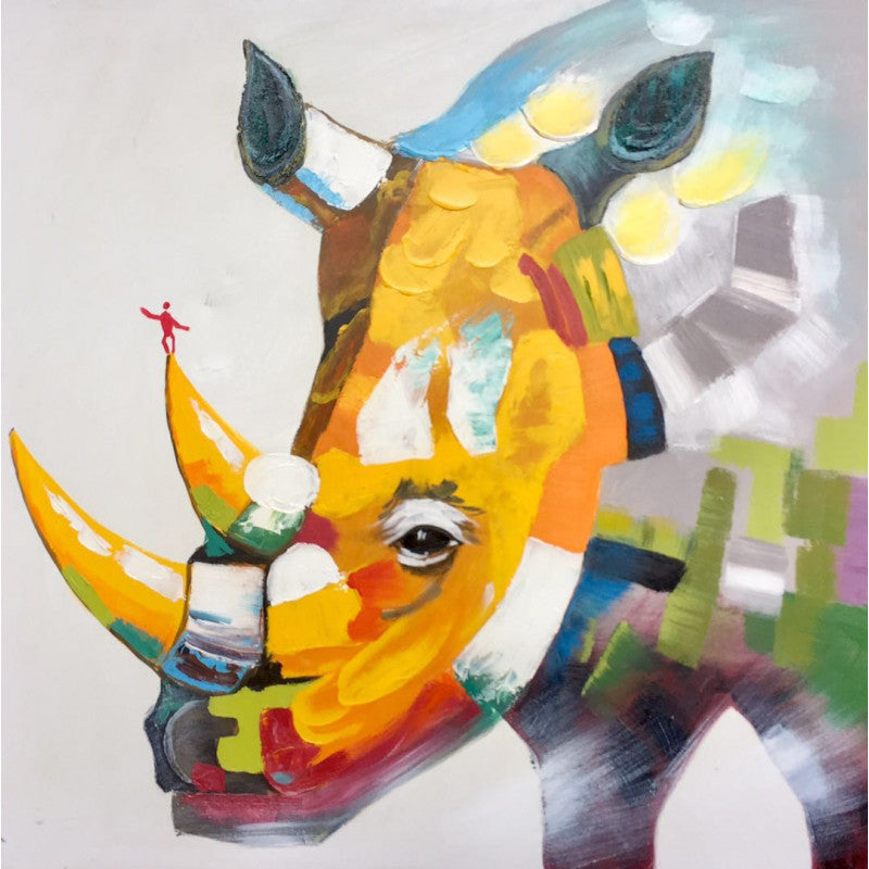 Lovely oil painting  Colorful Rhino 800mm x 800mm
