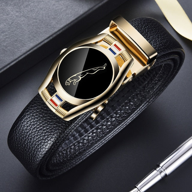 CARTELO Leather Belts for Men 3.5cm Width Sports car Brand Fashion Automatic Buckle Black Genuine Leather Belt Men's Belts Cow