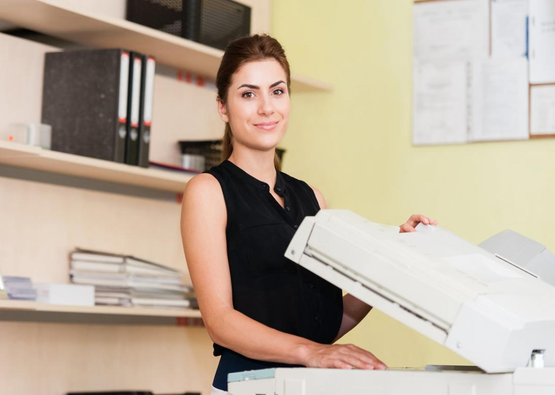 lady at photocopier