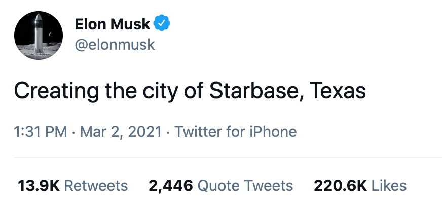 """Elon Musk's first Starbase tweet: """"Creating the city of Starbase, Texas"""""""
