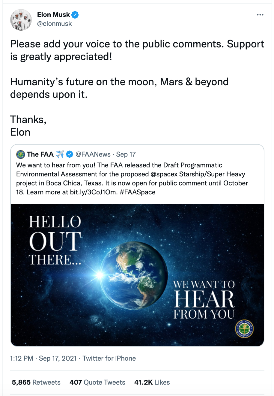 Elon Musk appeals to the public for support of the Starbase FAA plan.