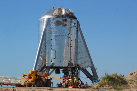 Starhopper is worked on by SpaceX crews at Starbase