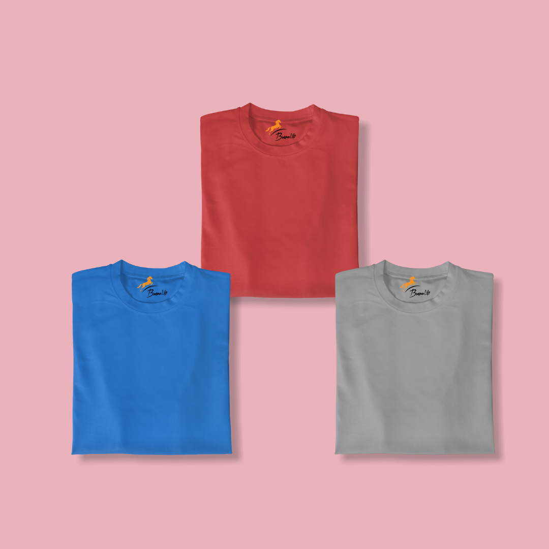Maroon+Navy Blue+Dark Gray Pack 3 T-shirt