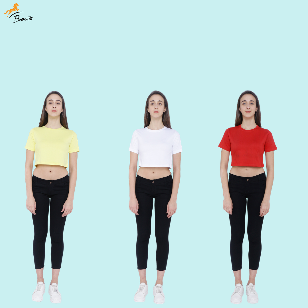 Pack of 3 Plain Half Sleeve Women's Crop top (Yellow, White, Red)