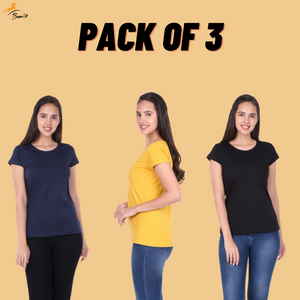 Pack of 3 Plain Half Sleeve Women's T-Shirt (Navy Blue, Mustard, Black)