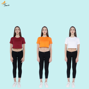 Pack of 3 Plain Half Sleeve Women's Crop top (Maroon, Orange, White)