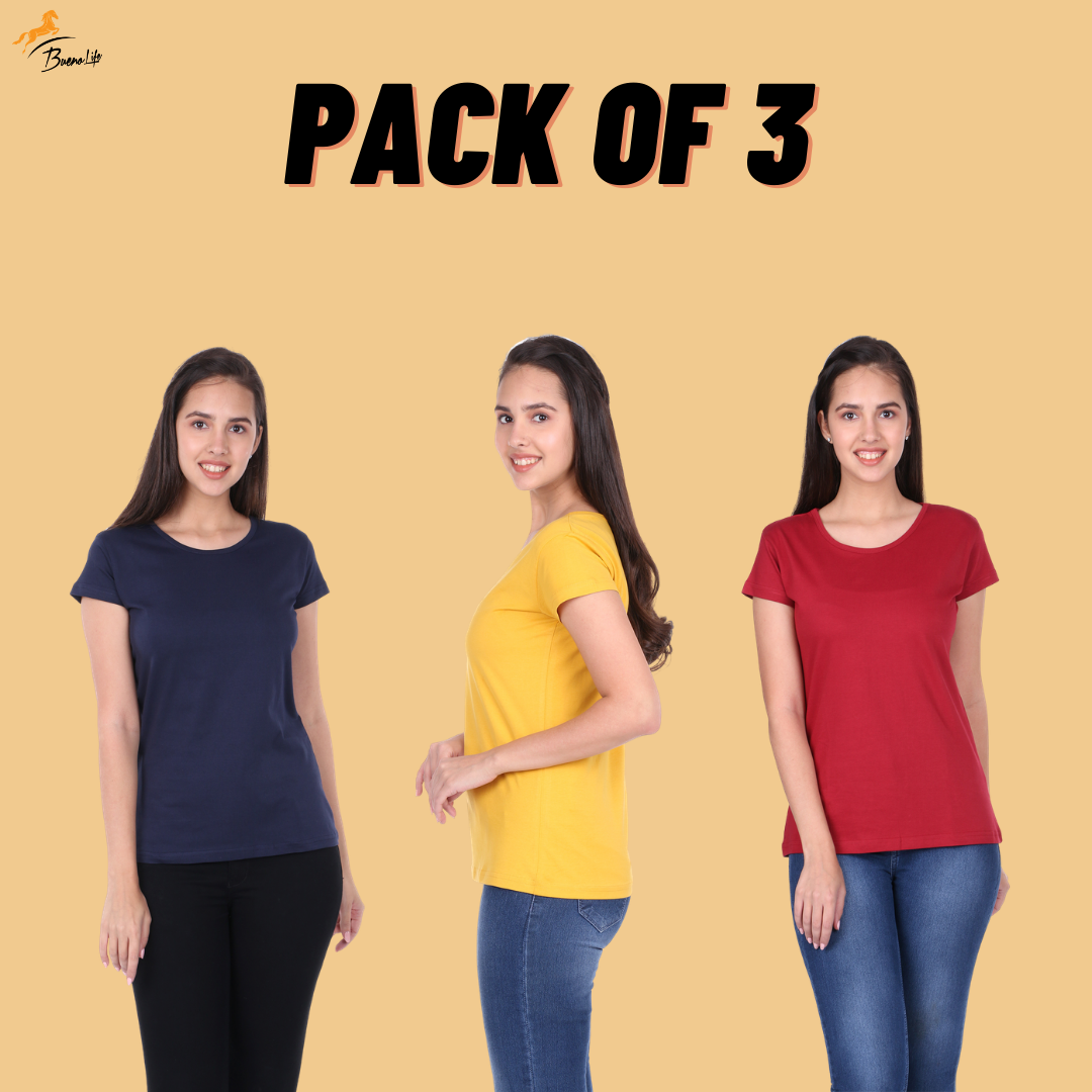 Pack of 3 Plain Half Sleeve Women's T-Shirt (Navy Blue, Mustard, Maroon)