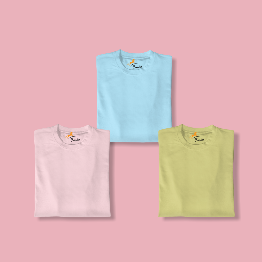 Sky Blue+Pink+Lemon Pack Of 3 T-shirt